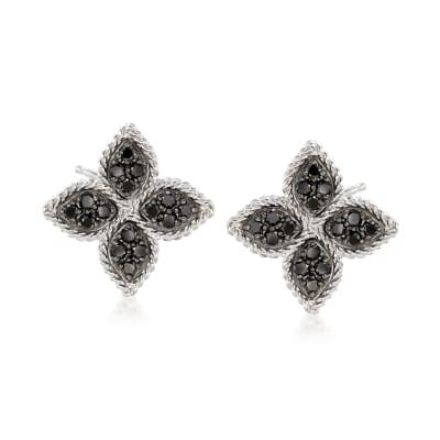 "Roberto Coin ""Princess"" .35 ct. t.w. Black Diamond Flower Earrings in 18kt White Gold"