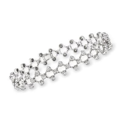 C. 1990 Vintage 1.10 ct. t.w. Diamond Open-Space Lattice Bracelet in 14kt White Gold