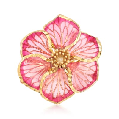 Italian Pink Enamel Flower Ring in 18kt Gold Over Sterling