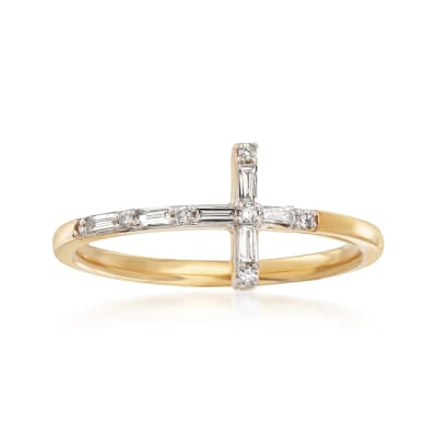.16 ct. t.w. Diamond Cross Ring in 14kt Yellow Gold
