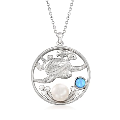 Cultured Button Pearl and Simulated Blue Opal Sea Life Pendant Necklace in Sterling Silver