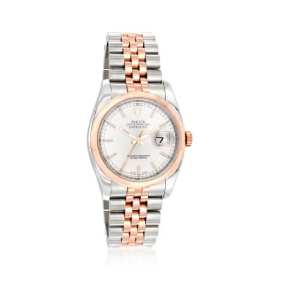 Pre-Owned Rolex Datejust Men's 36mm Stainless Steel and 18kt Rose Gold Automatic Watch
