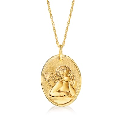 Italian 14kt Yellow Gold Raffaello's Angel Adjustable Pendant Necklace
