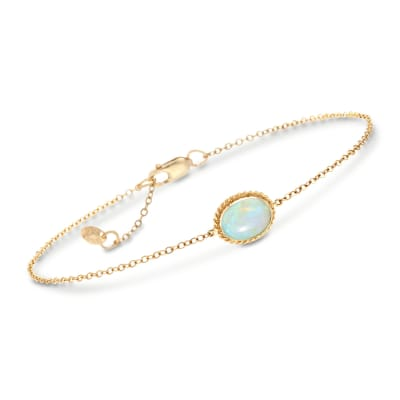 Australian Opal Roped Frame Bracelet in 14kt Yellow Gold