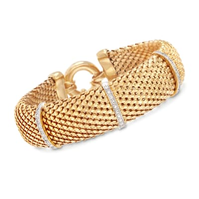 Italian .15 ct. t.w. Diamond Bar Mesh Bracelet in 18kt Yellow Gold Over Sterling