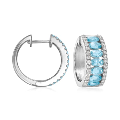 2.80 ct. t.w. Aquamarine and 1.20 ct. t.w. White Topaz Hoop Earrings in Sterling Silver