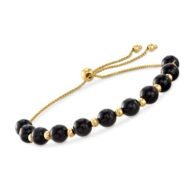 Black Onyx and 14kt Yellow Gold Bead Bolo Bracelet