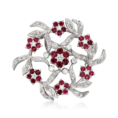 C. 1970 Vintage 3.30 ct. t.w. Ruby and 1.30 ct. t.w. Diamond Flower Pin in 18kt White Gold