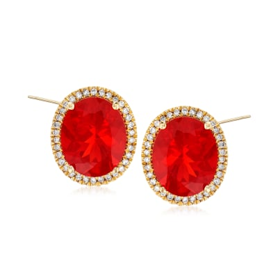 Fire Opal and .25 ct. t.w. Diamond Earrings in 14kt Yellow Gold