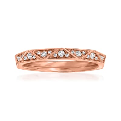 Henri Daussi .17 ct. t.w. Pave Diamond Geometric Wedding Ring in 14kt Rose Gold