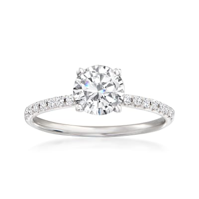 .17 ct. t.w. Pave Diamond Engagement Ring Setting in 14kt White Gold