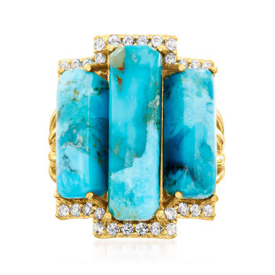 Turquoise and .80 ct. t.w. White Topaz Ring in 18kt Gold Over Sterling