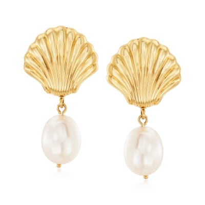 10x8mm Cultured Pearl Shell Drop Earrings in 14kt Yellow Gold