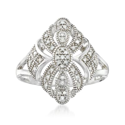 .13 ct. t.w. Diamond and Milgrain Openwork Ring in Sterling Silver