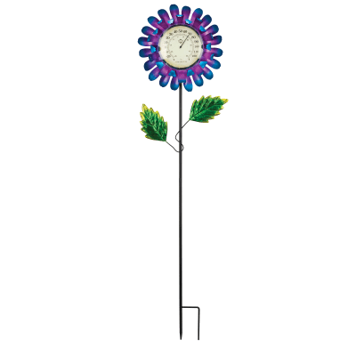 Regal Blue Buttercup Thermometer Solar Garden Stake