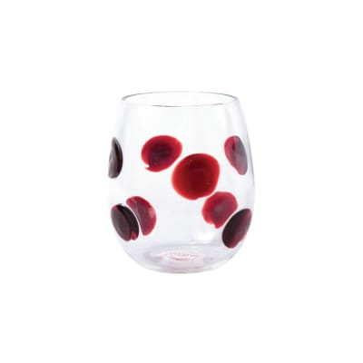 "Vietri ""Drop"" Red Stemless Wine Glass from Italy"