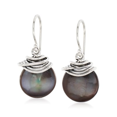 13mm Black Cultured Coin Pearl Drop Earrings in Sterling Silver