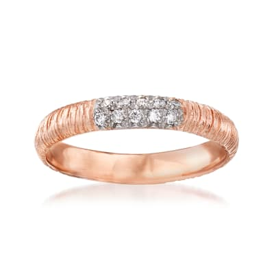 .10 ct. t.w. Pave Diamond Ring in 14kt Rose Gold