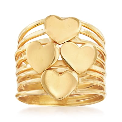 Italian 18kt Gold Over Sterling Multi-Heart Ring
