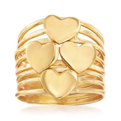 Italian 18kt Gold Over Sterling Multi-Heart Ring