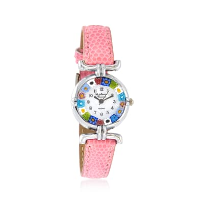 Italian Woman's Floral Multicolored Murano Glass 26mm Watch with Pink Leather