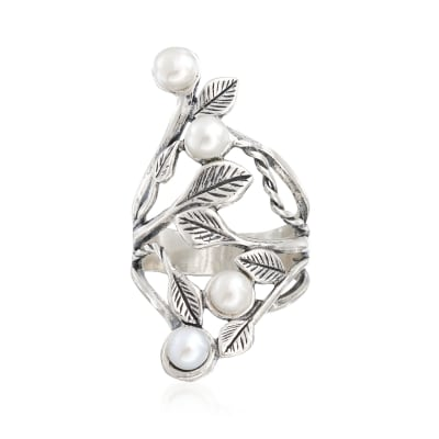 4.5-5mm Cultured Pearl Open-Space Leaf Ring in Sterling Silver