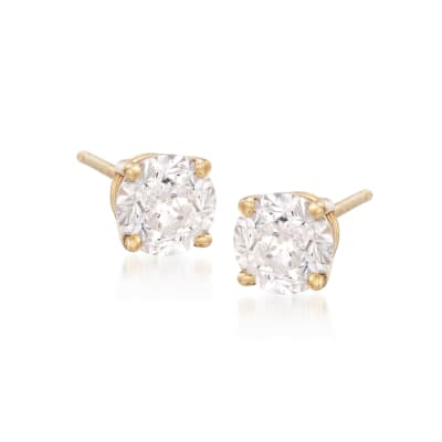 2.00 ct. t.w. CZ Stud Earrings in 18kt Yellow Gold