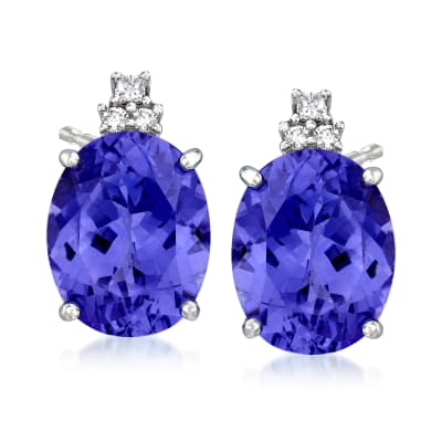 9.30 ct. t.w. Tanzanite Earrings with .11 ct. t.w. Diamonds in 14kt White Gold