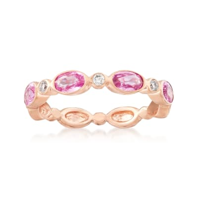 1.20 ct. t.w. Pink Sapphire and Diamond Accent Ring in 14kt Rose Gold