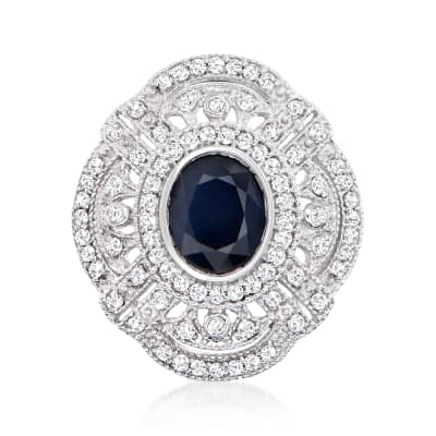 3.00 Carat Sapphire and 1.00 ct. t.w. Diamond Ring in 14kt White Gold