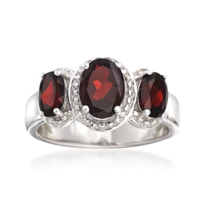 2.40 ct. t.w. Garnet Three-Stone Ring in Sterling Silver