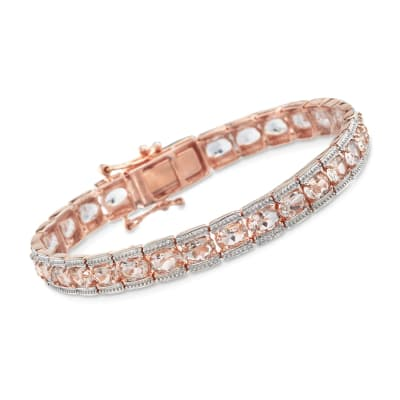 11.00 ct. t.w. Morganite Tennis Bracelet in 14kt Rose Gold Over Sterling