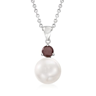 11-11.5mm Cultured Pearl and .80 Carat Garnet Pendant Necklace in Sterling Silver