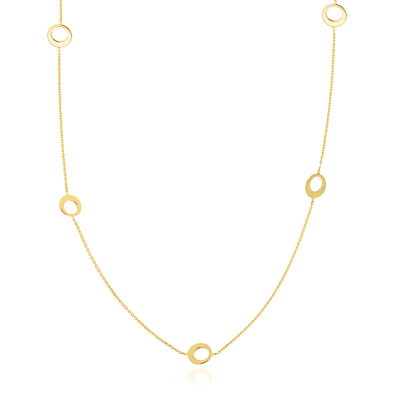 14kt Yellow Gold Half-Open Circle Station Necklace