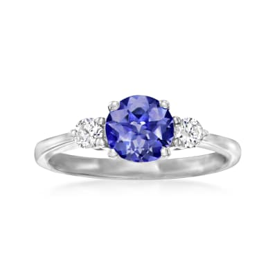 1.10 Carat Tanzanite Ring with .20 ct. t.w. Diamonds in 14kt White Gold