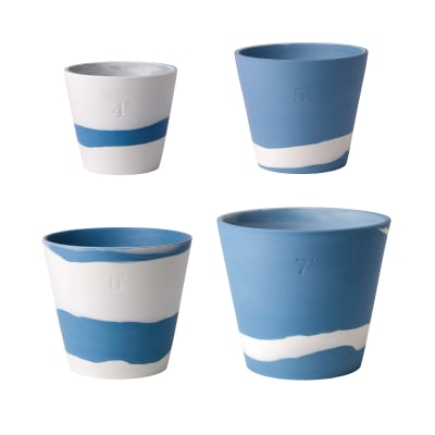 """Wedgwood """"Burlington"""" Blue and White Pot"""