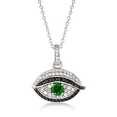 .40 Carat Green Chrome Diopside, .40 ct. t.w. White Zircon and .10 ct. t.w. Black Spinel Evil Eye Pendant Necklace in Sterling Silver