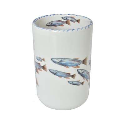 "Abbiamo Tutto ""School of Fish"" Ceramic Wine Bottle/Kitchen Utensil Holder from Italy"