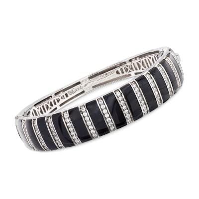 "Belle Etoile ""Regal"" Black Onyx and 1.70 ct. t.w. CZ Bangle Bracelet in Sterling Silver"