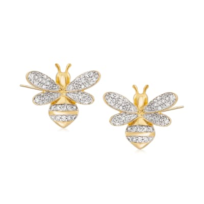 .50 ct. t.w. Diamond Bee Earrings in 18kt Gold Over Sterling