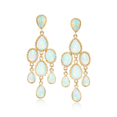 Ethiopian Opal Chandelier Earrings in 14kt Yellow Gold