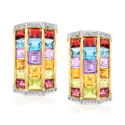 C. 1980 Vintage 6.60 ct. t.w. Multi-Gemstone Earrings with .15 ct. t.w. Diamonds in 14kt Yellow Gold
