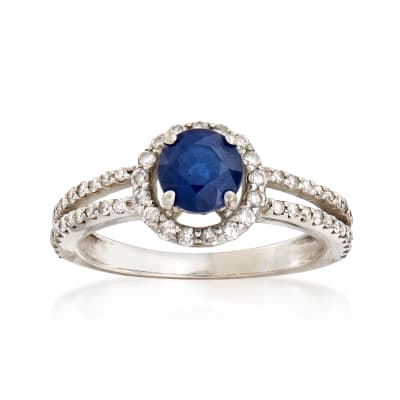 C. 1990 Vintage 1.00 Carat Sapphire and .50 ct. t.w. Diamond Ring in 14kt White Gold