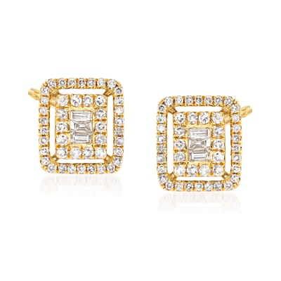 .40 ct. t.w. Baguette and Round Diamond Earrings in 18kt Yellow Gold