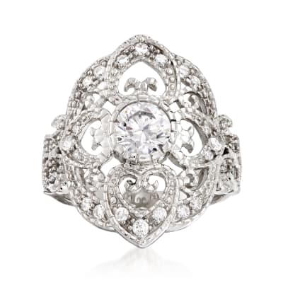 1.30 ct. t.w. CZ Vintage-Style Ring in Sterling Silver