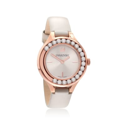 Swarovski Crystal Lovely Crystals Women's Rose Goldtone Stainless Watch with Gray Leather