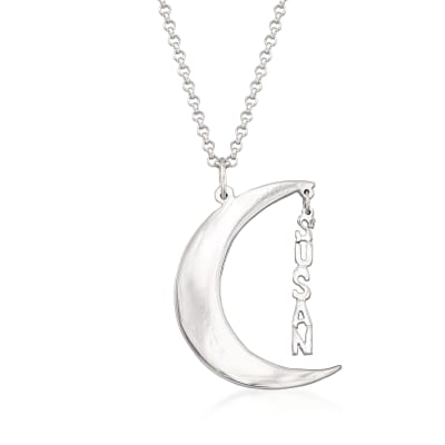 Sterling Silver Personalized Crescent Moon Necklace