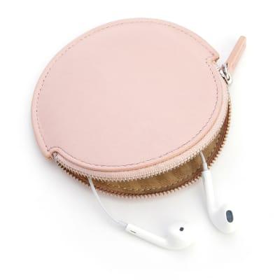 Royce Blush Pink Leather Circular Earbud Case