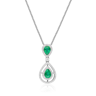 1.00 ct. t.w. Emerald and .30 ct. t.w. Diamond Pendant Necklace in 14kt White Gold
