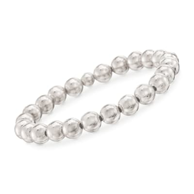 Italian 8mm Sterling Silver Bead Stretch Bracelet